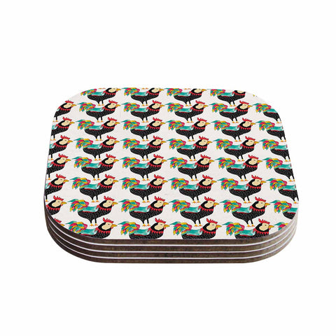 "Pom Graphic Design ""The Rooster Squad"" Black Pattern Coasters (Set of 4)"