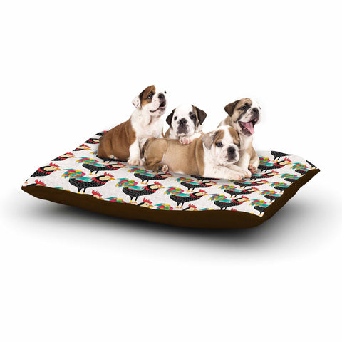 "Pom Graphic Design ""The Rooster Squad"" Black Pattern Dog Bed - KESS InHouse  - 1"