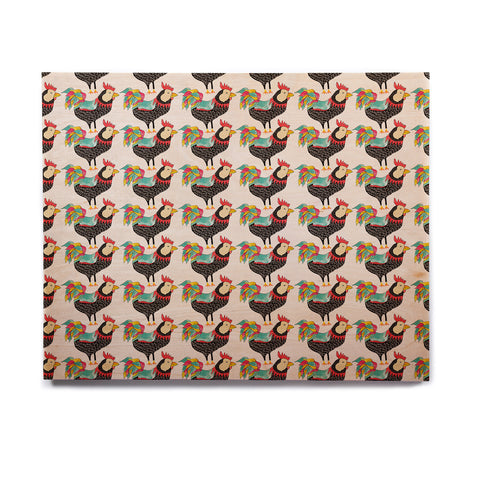 "Pom Graphic Design ""The Rooster Squad"" Black Pattern Birchwood Wall Art - KESS InHouse  - 1"