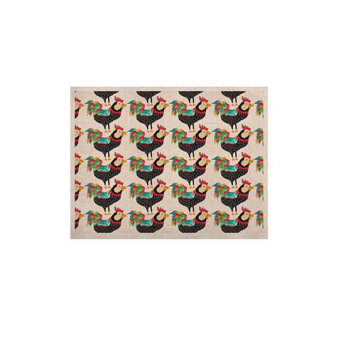 "Pom Graphic Design ""The Rooster Squad"" Black Pattern KESS Naturals Canvas (Frame not Included) - KESS InHouse  - 1"