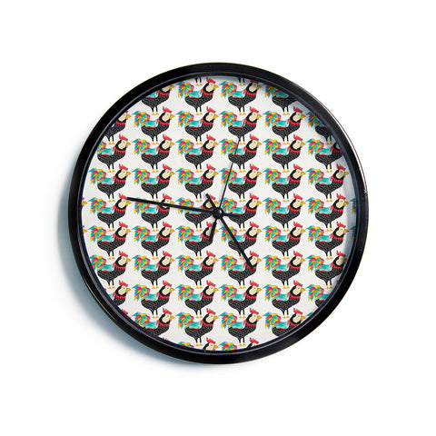"Pom Graphic Design ""The Rooster Squad"" Black Pattern Modern Wall Clock"