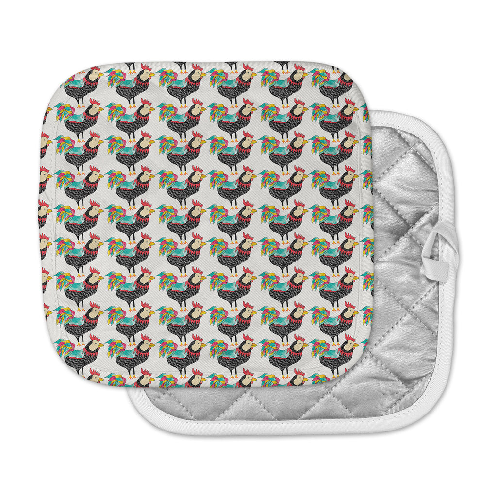 "Pom Graphic Design ""The Rooster Squad"" Black Pattern Pot Holder"