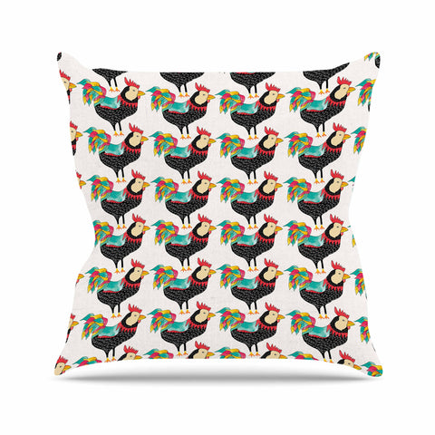 "Pom Graphic Design ""The Rooster Squad"" Black Pattern Outdoor Throw Pillow - KESS InHouse  - 1"