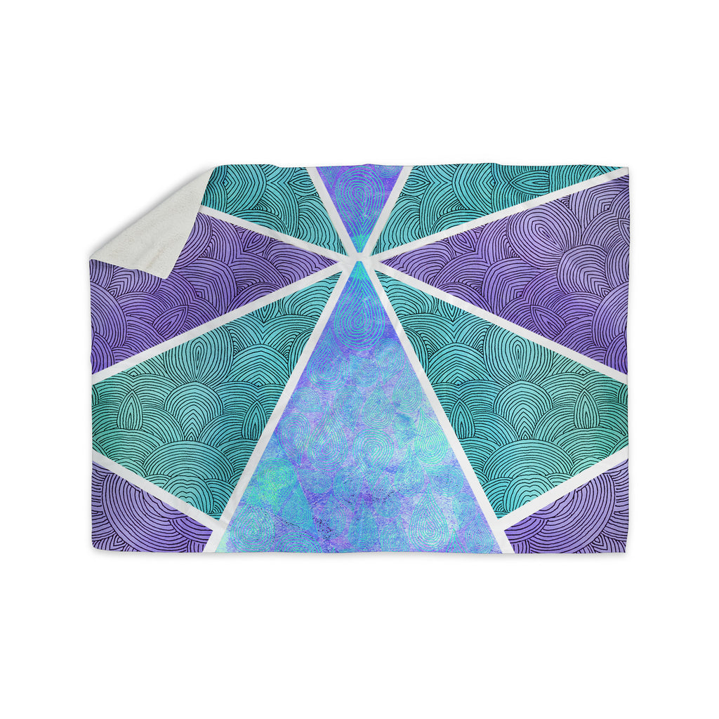 "Pom Graphic Design ""Reflective Pyramids"" Teal Purple Sherpa Blanket - KESS InHouse  - 1"
