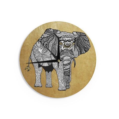 "Pom Graphic Design ""Golden Elephant"" Wall Clock - KESS InHouse"