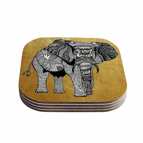 "Pom Graphic Design ""Golden Elephant"" Coasters (Set of 4)"