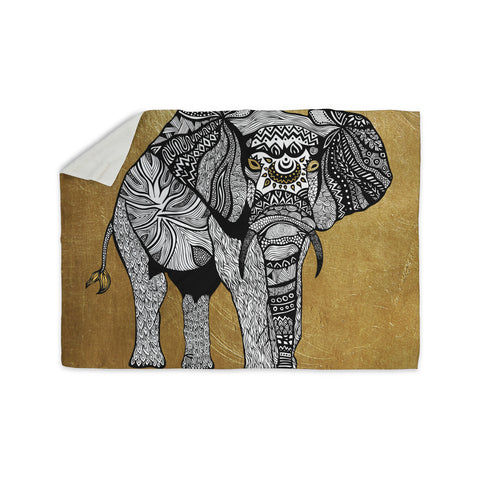"Pom Graphic Design ""Golden Elephant"" Sherpa Blanket - KESS InHouse  - 1"