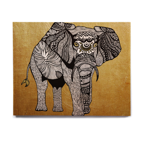 "Pom Graphic Design ""Golden Elephant"" Birchwood Wall Art - KESS InHouse  - 1"