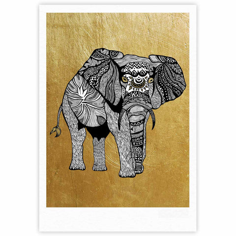 "Pom Graphic Design ""Golden Elephant"" Fine Art Gallery Print - KESS InHouse"