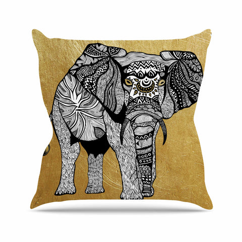 "Pom Graphic Design ""Golden Elephant"" Outdoor Throw Pillow - KESS InHouse  - 1"