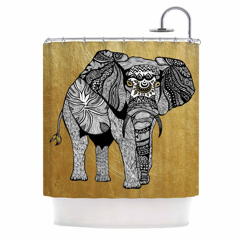 "Pom Graphic Design ""Golden Elephant"" Shower Curtain - KESS InHouse"