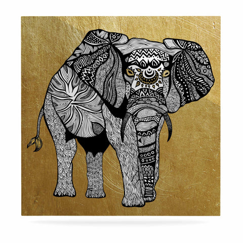 "Pom Graphic Design ""Golden Elephant"" Luxe Square Panel - KESS InHouse  - 1"