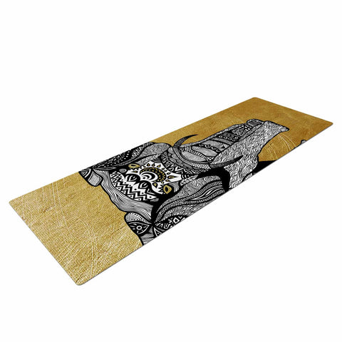"Pom Graphic Design ""Golden Elephant"" Yoga Mat - KESS InHouse  - 1"