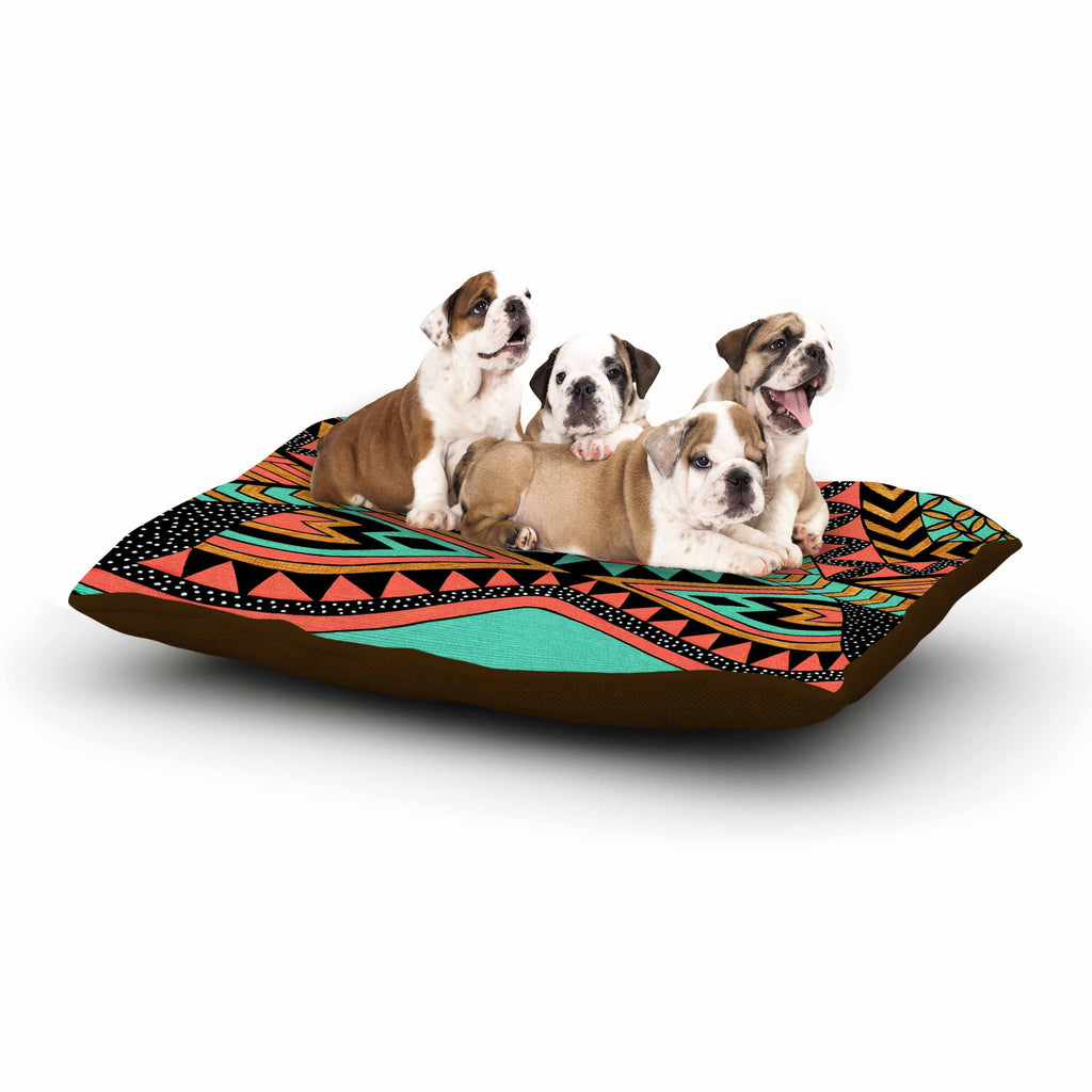 "Pom Graphic Design ""PeruNative"" Gold Coral Dog Bed - KESS InHouse  - 1"