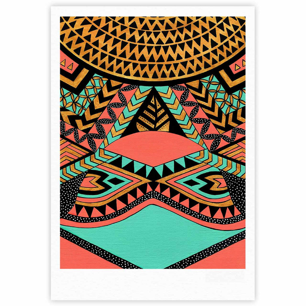 "Pom Graphic Design ""PeruNative"" Gold Coral Fine Art Gallery Print - KESS InHouse"