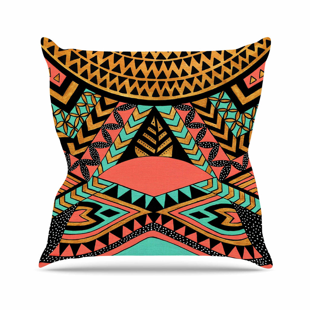 "Pom Graphic Design ""PeruNative"" Gold Coral Outdoor Throw Pillow - KESS InHouse  - 1"