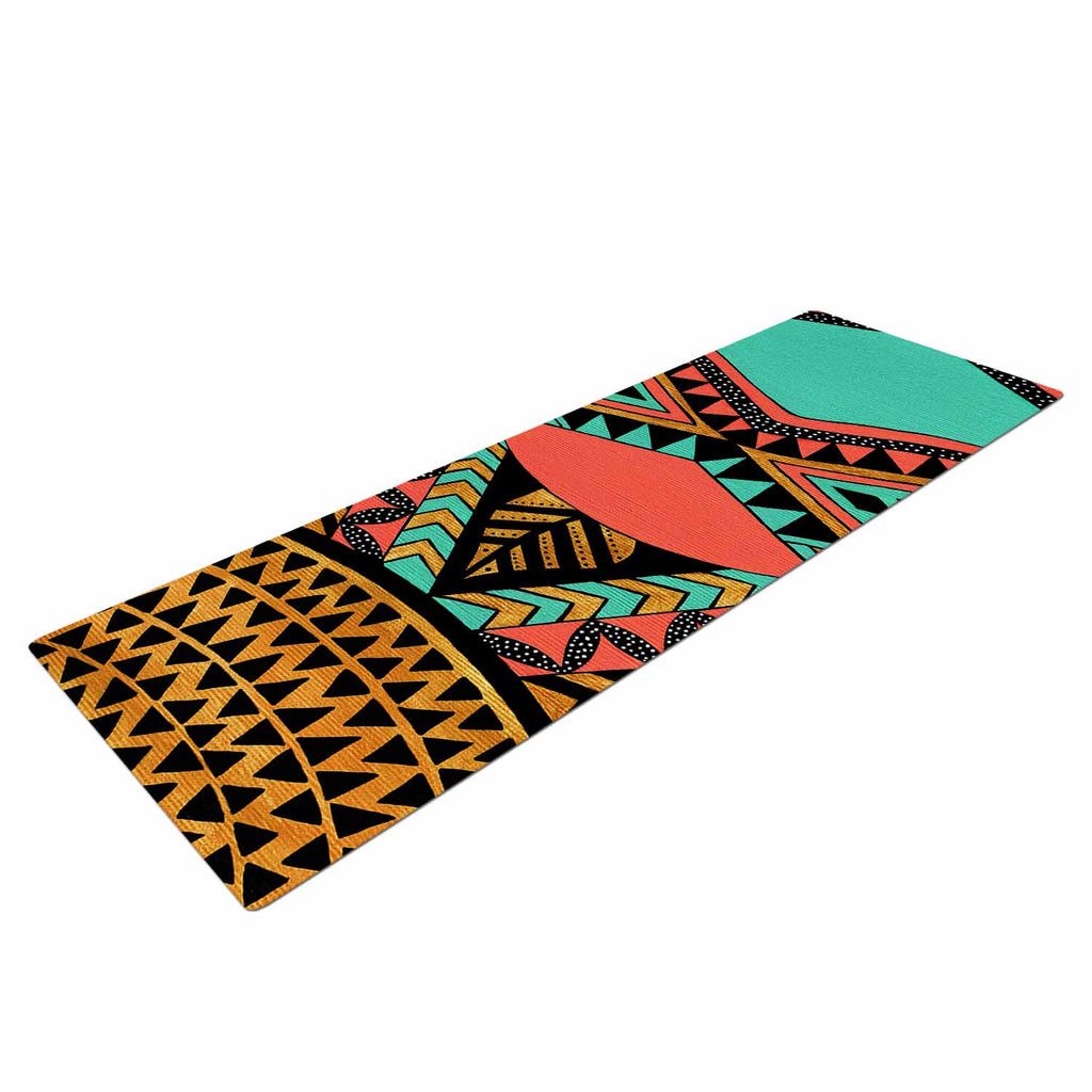 "Pom Graphic Design ""PeruNative"" Gold Coral Yoga Mat - KESS InHouse  - 1"