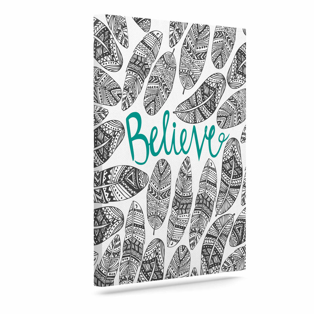"Pom Graphic Design ""Believe"" Gray Teal Canvas Art - KESS InHouse  - 1"