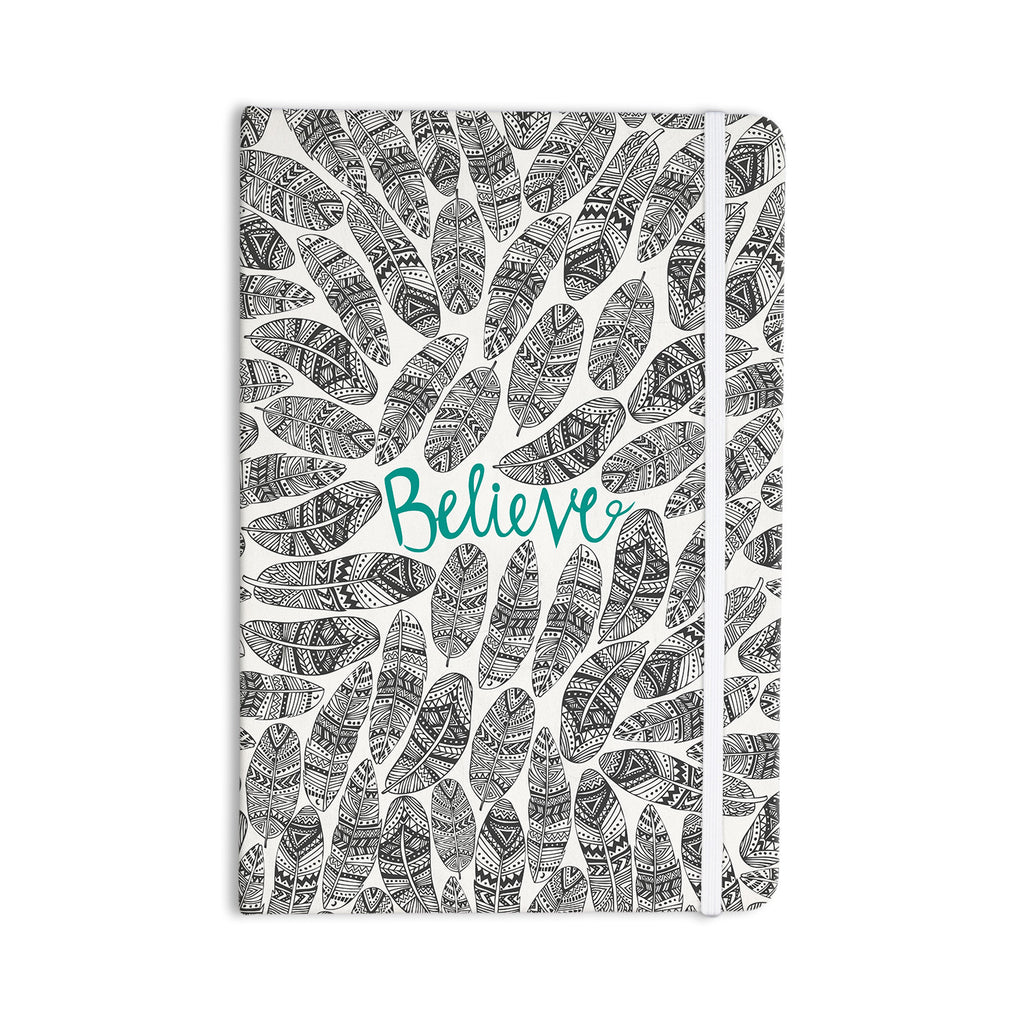"Pom Graphic Design ""Believe"" Gray Teal Everything Notebook - KESS InHouse  - 1"