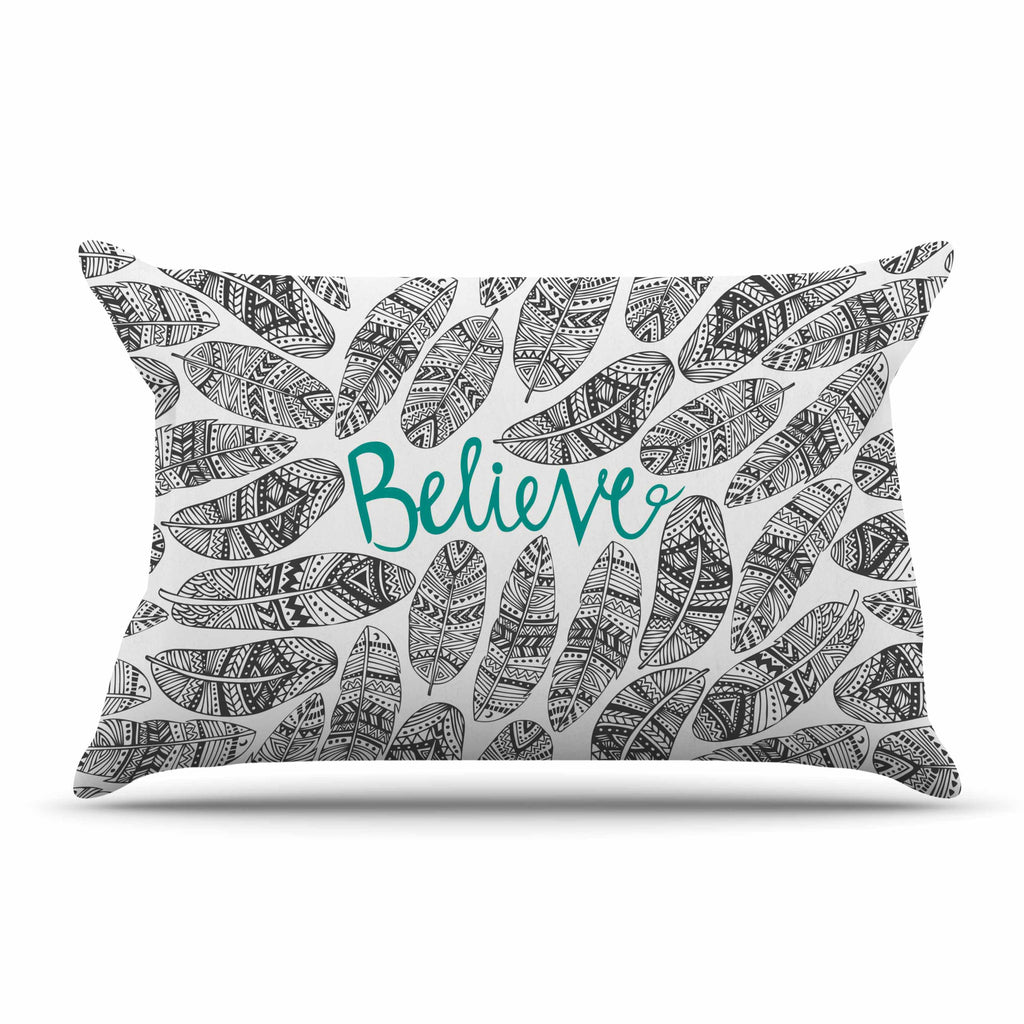 "Pom Graphic Design ""Believe"" Gray Teal Pillow Sham - KESS InHouse"