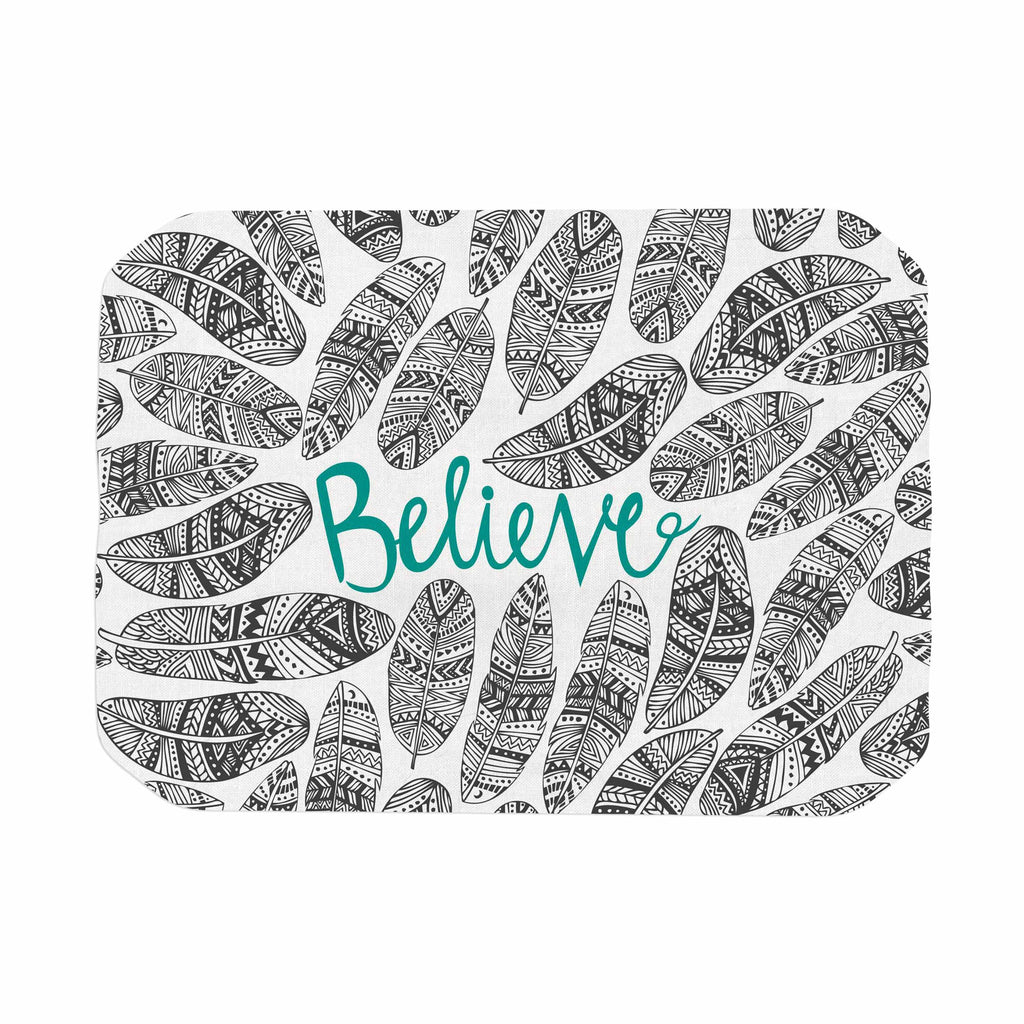 "Pom Graphic Design ""Believe"" Gray Teal Place Mat - KESS InHouse"