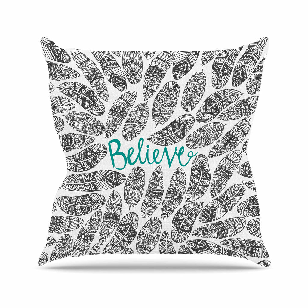 "Pom Graphic Design ""Believe"" Gray Teal Outdoor Throw Pillow - KESS InHouse  - 1"