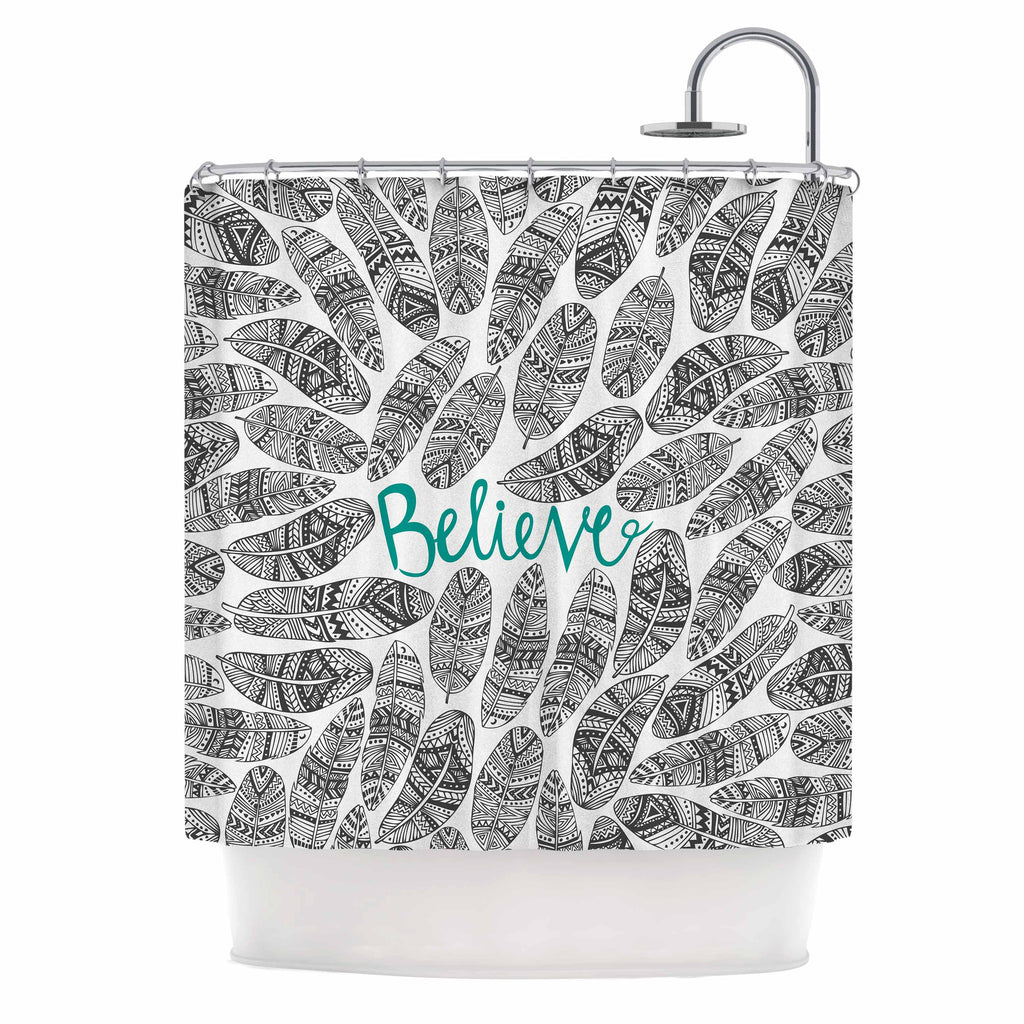 "Pom Graphic Design ""Believe"" Gray Teal Shower Curtain - KESS InHouse"