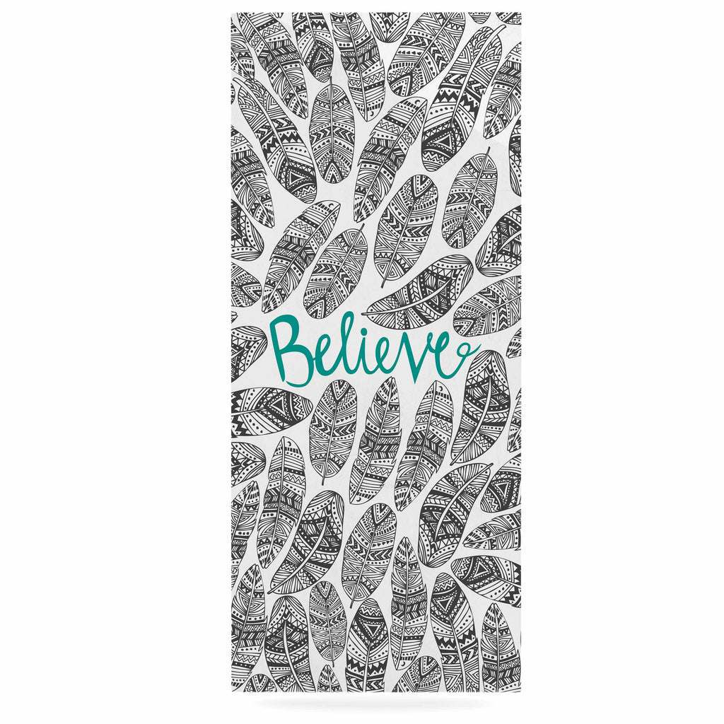 "Pom Graphic Design ""Believe"" Gray Teal Luxe Rectangle Panel - KESS InHouse  - 1"