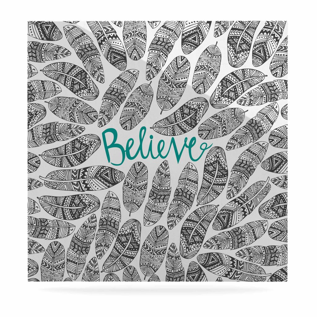 "Pom Graphic Design ""Believe"" Gray Teal Luxe Square Panel - KESS InHouse  - 1"