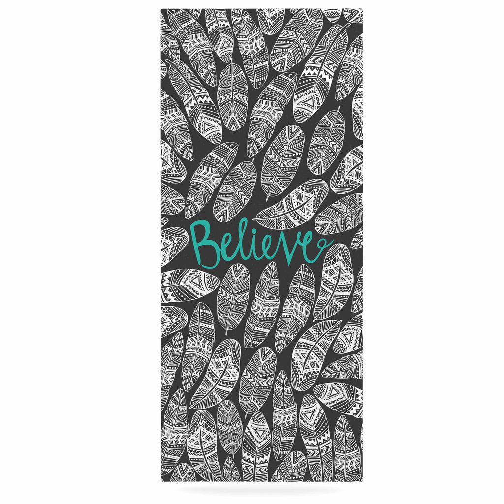 "Pom Graphic Design ""Believe In Yourself"" Dark Gray Luxe Rectangle Panel - KESS InHouse  - 1"