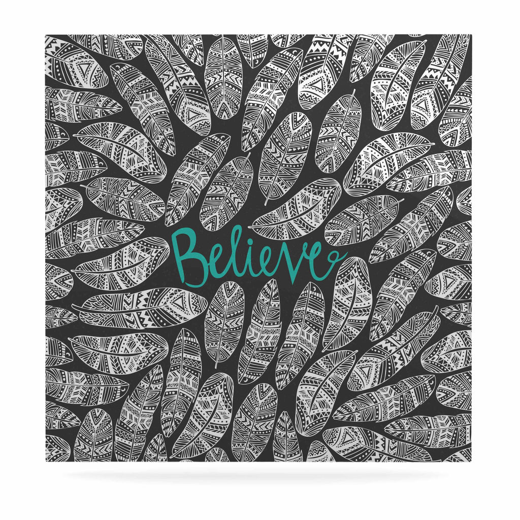 "Pom Graphic Design ""Believe In Yourself"" Dark Gray Luxe Square Panel - KESS InHouse  - 1"