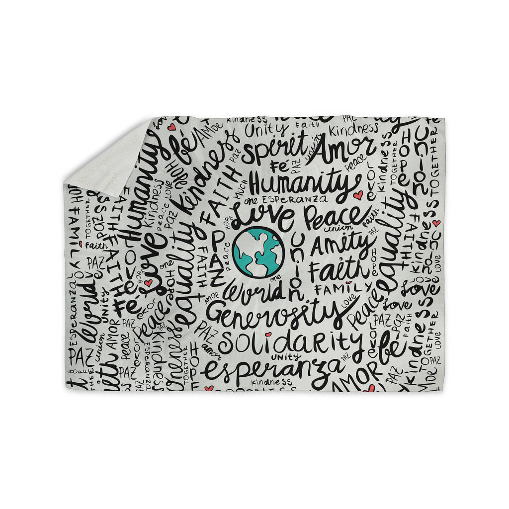 "Pom Graphic Design ""Positive World"" Teal Black Sherpa Blanket - KESS InHouse  - 1"