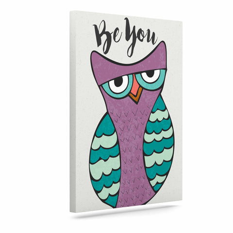 "Pom Graphic Design ""Be You Owl"" Purple Illustration Canvas Art - KESS InHouse  - 1"