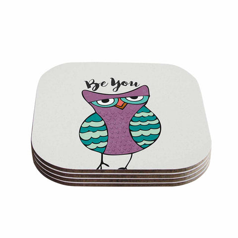 "Pom Graphic Design ""Be You Owl"" Purple Illustration Coasters (Set of 4)"