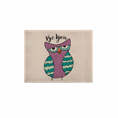 "Pom Graphic Design ""Be You Owl"" Purple Illustration KESS Naturals Canvas (Frame not Included) - KESS InHouse  - 1"