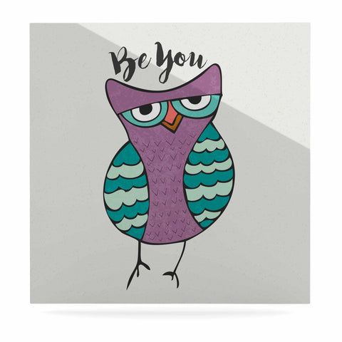 "Pom Graphic Design ""Be You Owl"" Purple Illustration Luxe Square Panel - KESS InHouse  - 1"