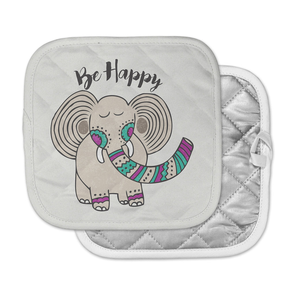 "Pom Graphic Design ""Be Happy"" Tan Typography Pot Holder"