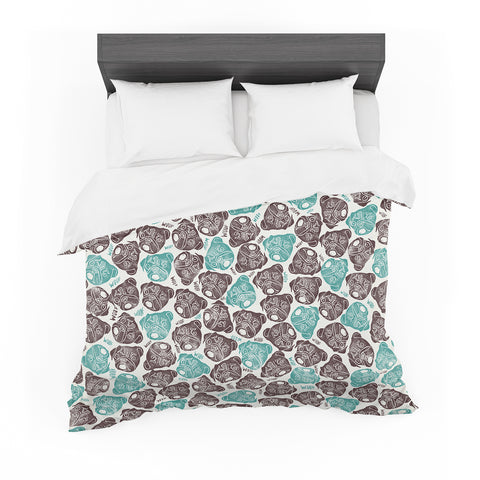 "Pom Graphic Design ""The Barking Pug"" Teal Black Featherweight Duvet Cover"