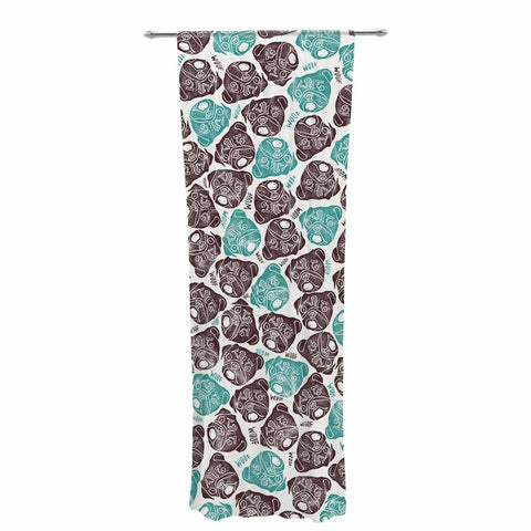 "Pom Graphic Design ""The Barking Pug"" Teal Black Decorative Sheer Curtain"