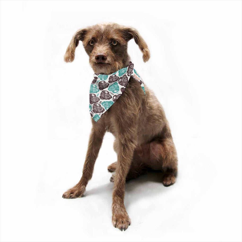 "Pom Graphic Design ""The Barking Pug"" Teal Black Pet Bandana - Outlet Item"