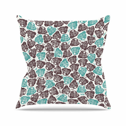 "Pom Graphic Design ""The Barking Pug"" Teal Black Outdoor Throw Pillow"
