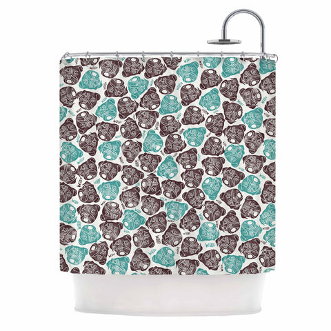 "Pom Graphic Design ""The Barking Pug"" Teal Black Shower Curtain"