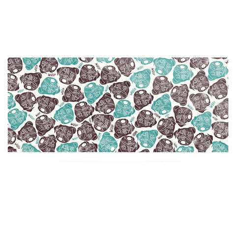 "Pom Graphic Design ""The Barking Pug"" Teal Black Luxe Rectangle Panel"