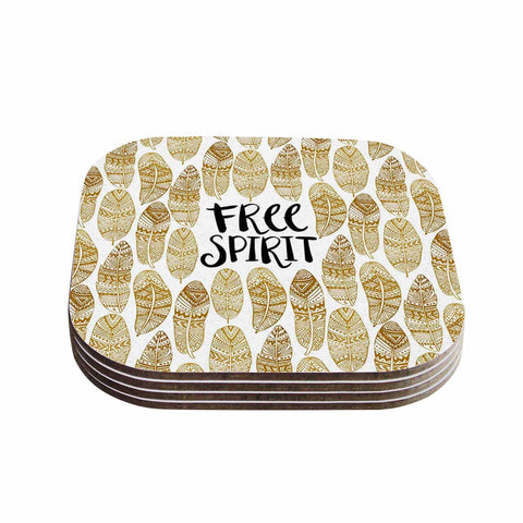 "Pom Graphic Design ""Free Tribal Spirit"" Gold Black Coasters (Set of 4)"
