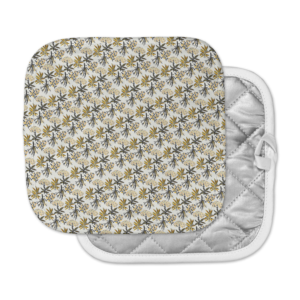 "Pom Graphic Design ""Golden Apothecary "" Gold Black Pot Holder"
