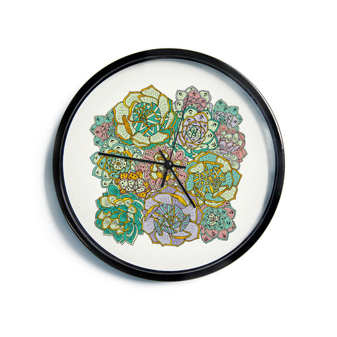 "Pom Graphic Design ""Succulent Love""  Modern Wall Clock"