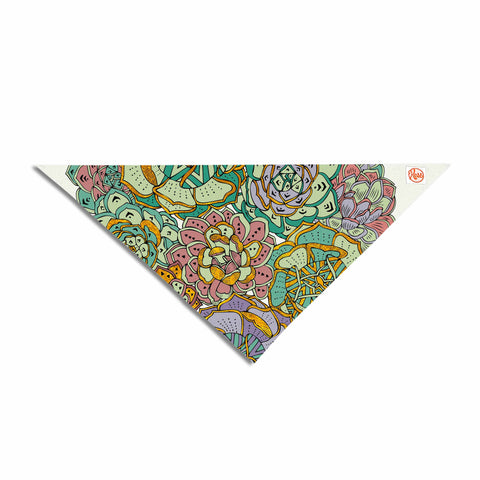 "Pom Graphic Design ""Succulent Love"" Green Orange Pet Bandana - KESS InHouse  - 1"