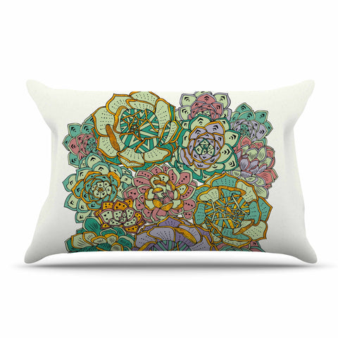 "Pom Graphic Design ""Succulent Love"" Green Orange Pillow Sham - KESS InHouse  - 1"