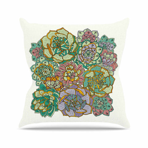 "Pom Graphic Design ""Succulent Love"" Green Orange Outdoor Throw Pillow - KESS InHouse  - 1"