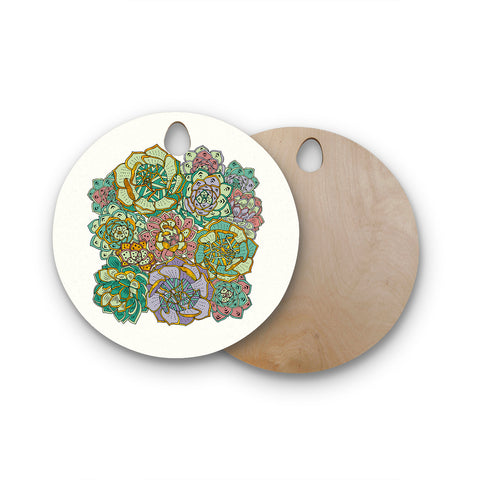 "Pom Graphic Design ""Succulent Love"" Round Wooden Cutting Board"